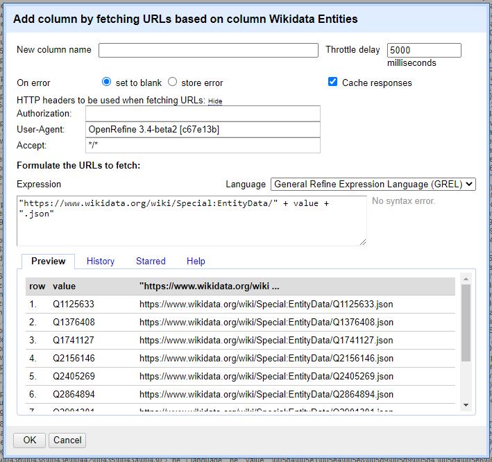 A screenshot of the settings window for fetching URLs.