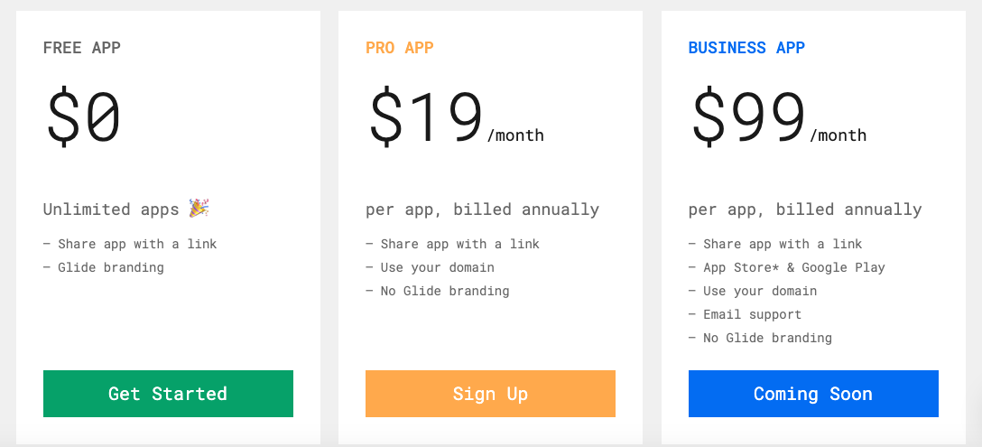 GlideApps Pricing