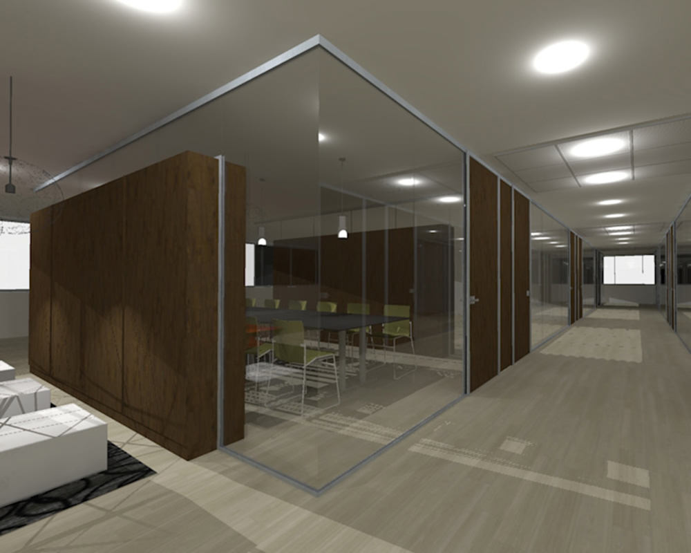 Zenith Series Hallway With Glass Walls with Decorative Wood Installation