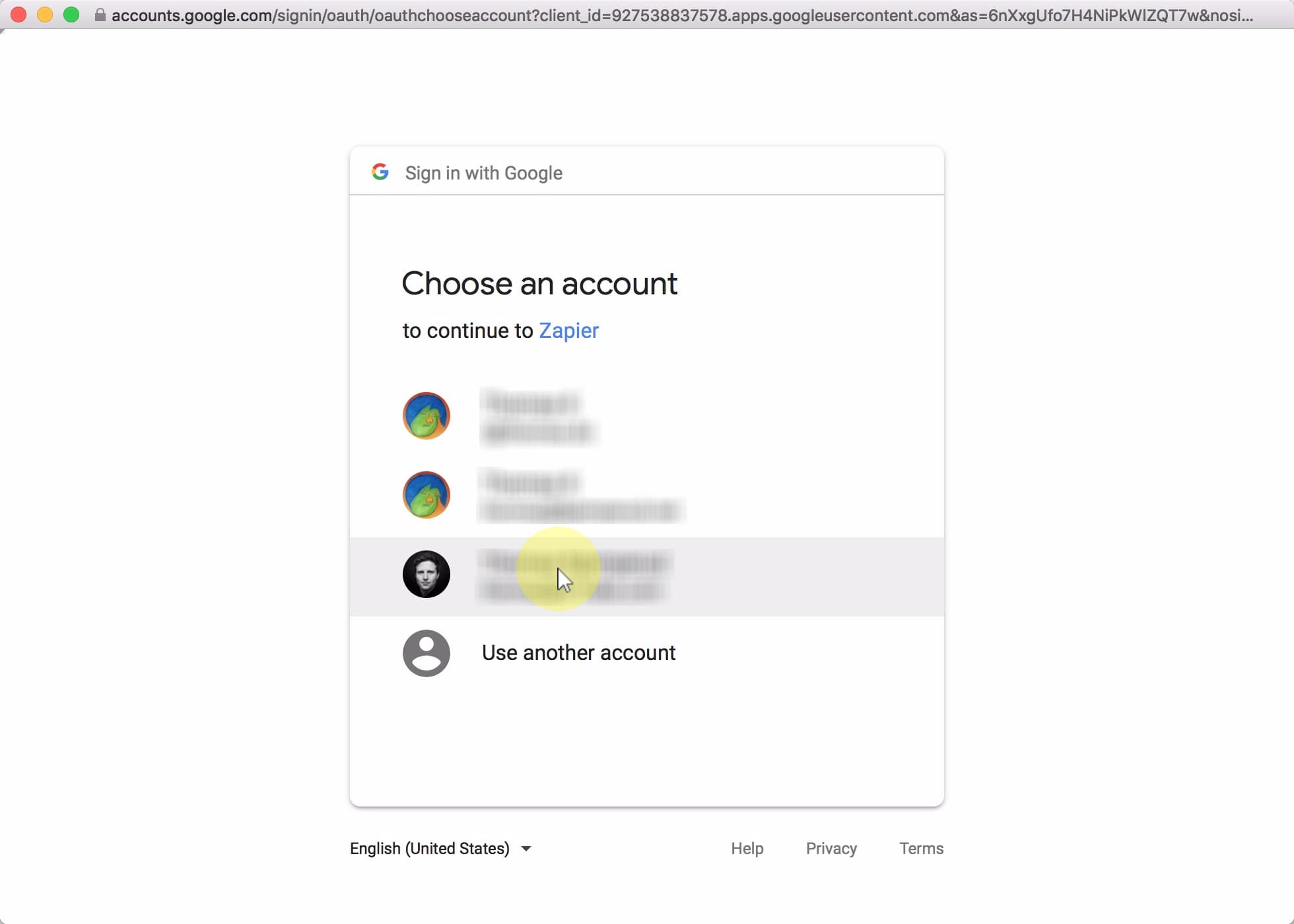 Select the Google Account you used to create your Google Form;