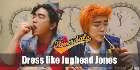 There are two key elements that must have in order to look like Jughead. His signature gray beanie hat hemmed in the shape of a crown and decorated with a red circle and a gray rectangle along with a gray, crew-neck t-shirt with a big distressed 'S' stamped on it from top to bottom. Aside from that, it's mostly sherpa lined denim jackets and slim-fit pants.