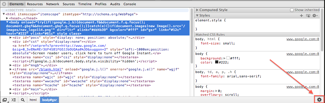 How to open the DevTools settings