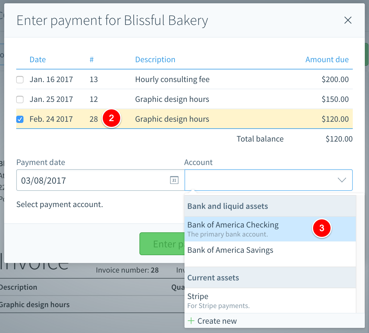 Step 3: After Youu0027ve Selected The Invoices That Youu0027d Like To Apply The  Check Payment To, Youu0027ll Want To Select The Bank Account In Billy That The  Check ...  Payment Invoices