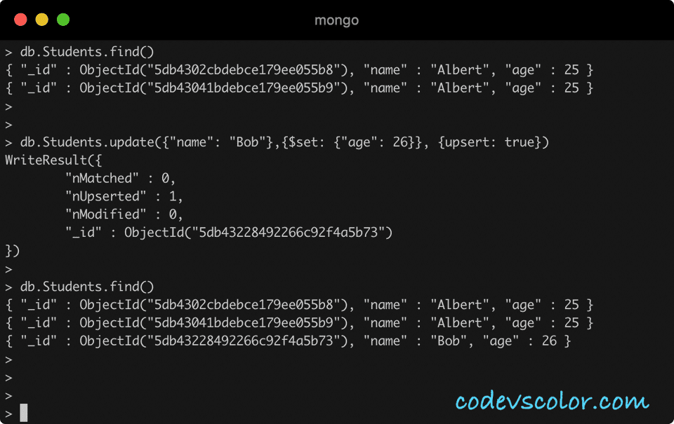 MongoDB update upsert document