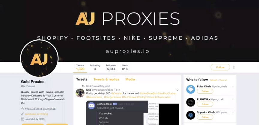 Twitter page of popular proxy provider AU Proxies
