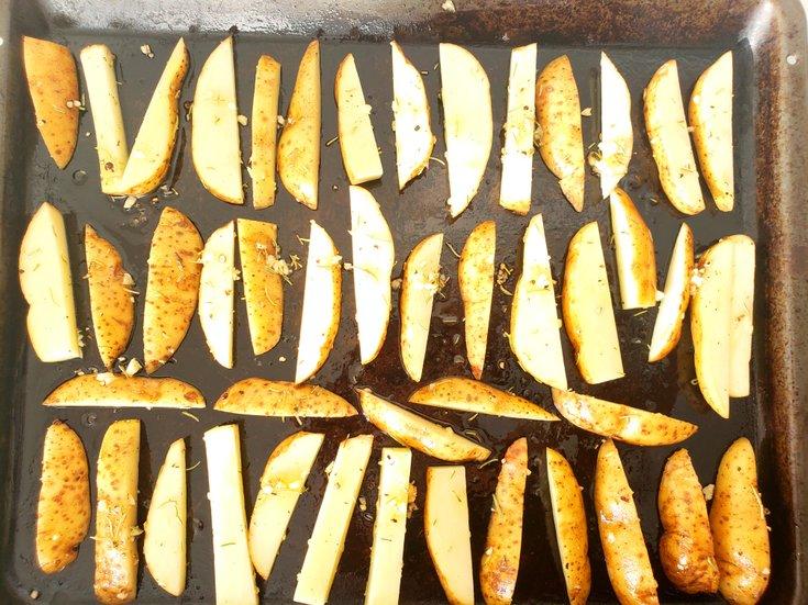 Cut French Fries on Baking Sheet