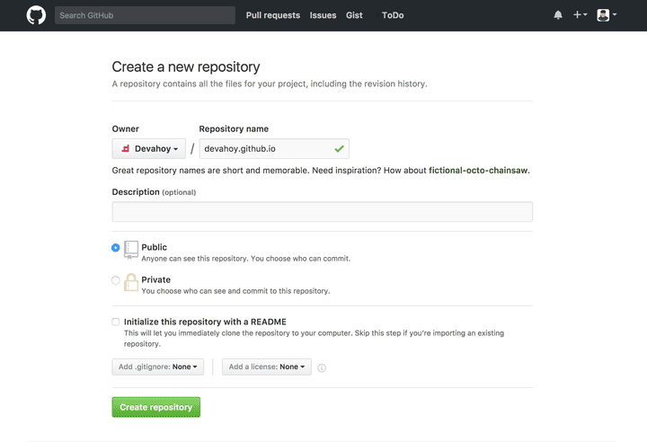 Create new repository (user)