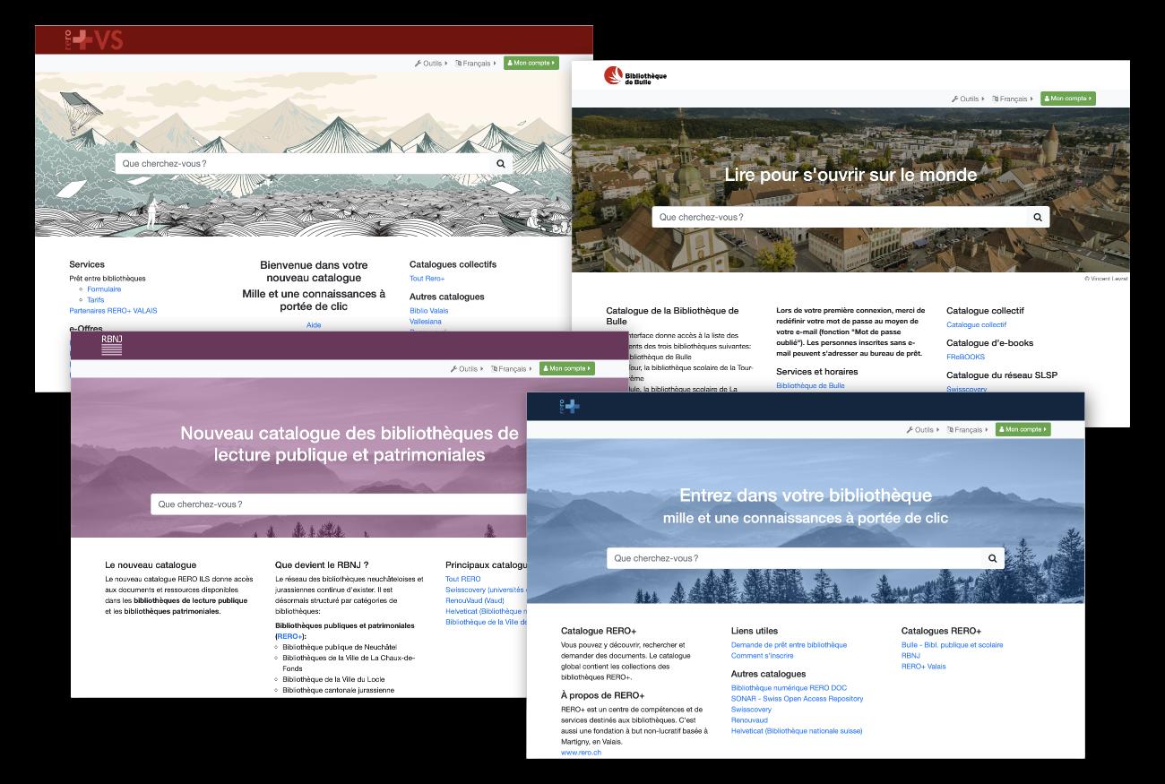 Capture d'écran des pages d'accueil des catalogues de RERO+.