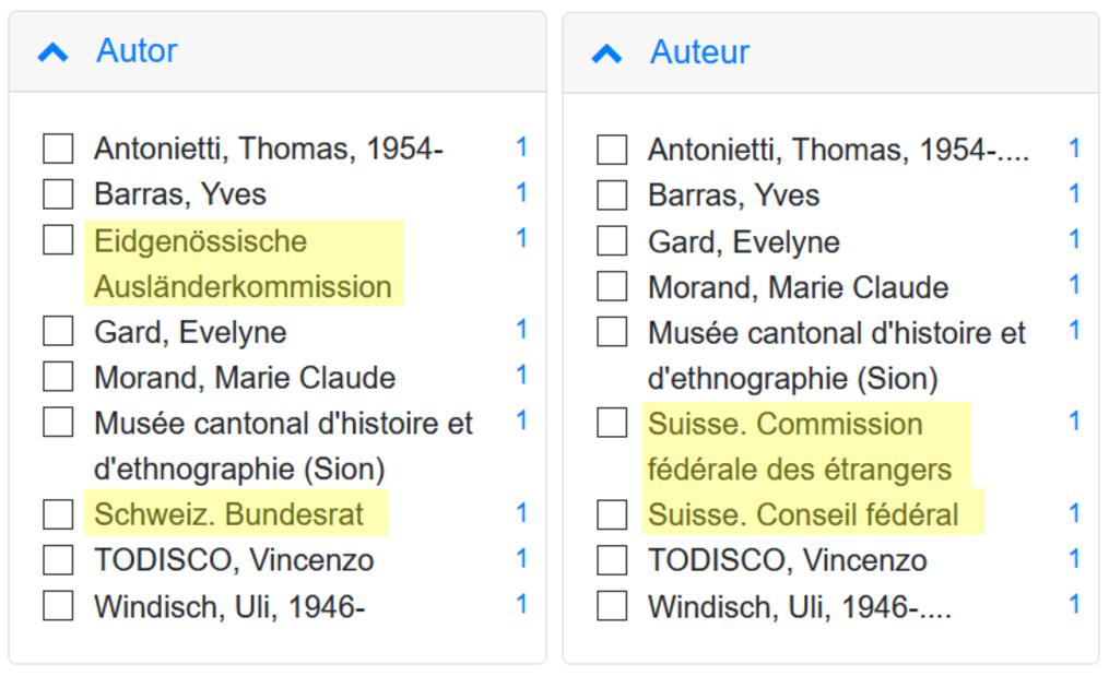 Facette auteur en allemand et en français