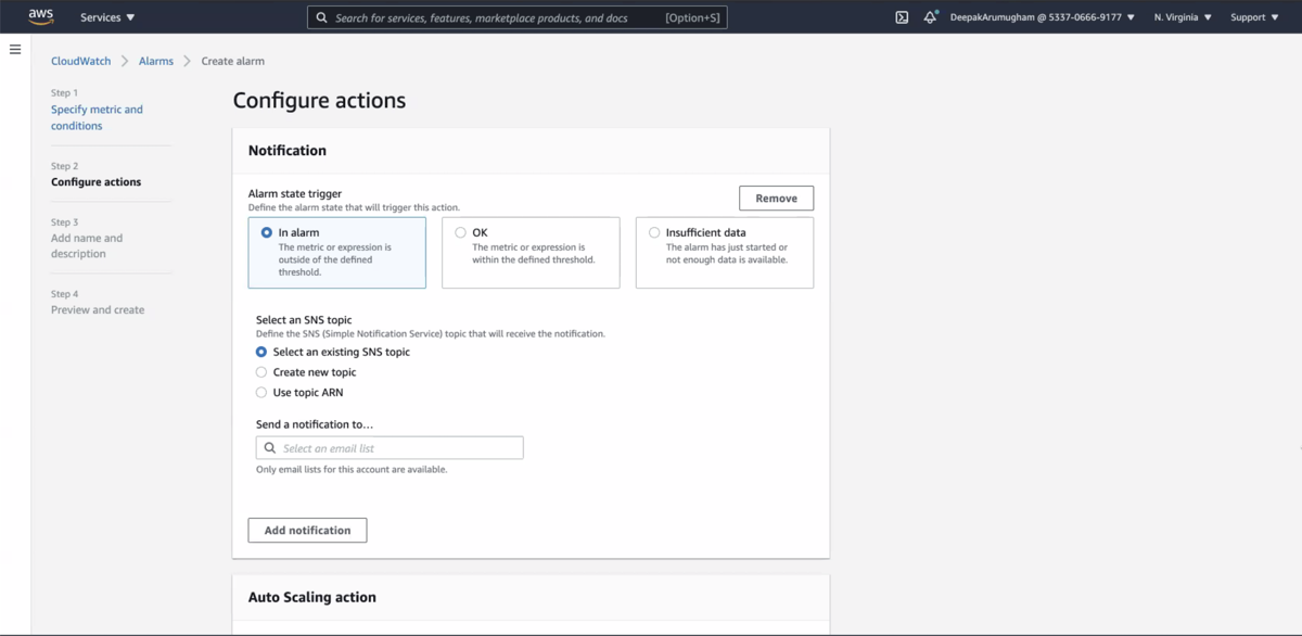 The Configure actions page.