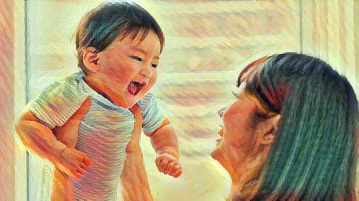 Illustration of a mother holding her singing baby