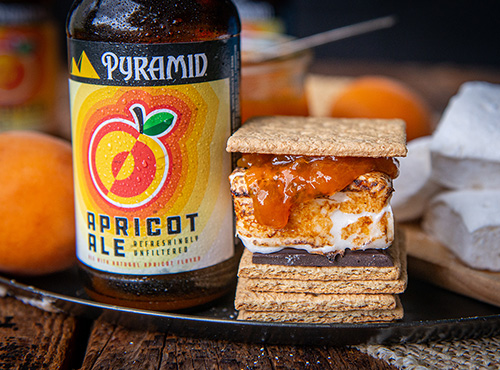 Apricot Ale S'more next to a bottle of Apricot Ale