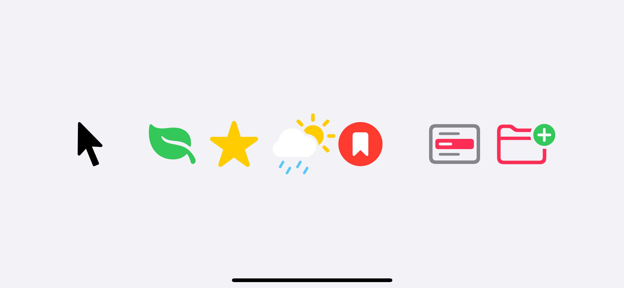 Three types of SF Symbols, monochrome, multicolor, and dynamic multicolor, respectively left to right.