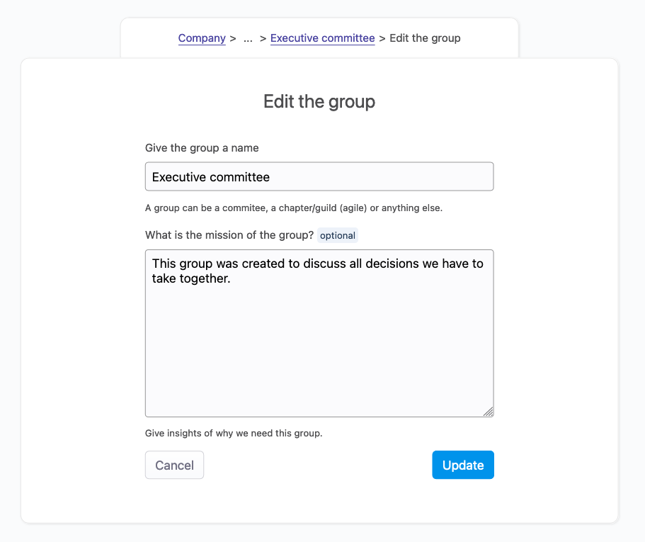 image of the group edit