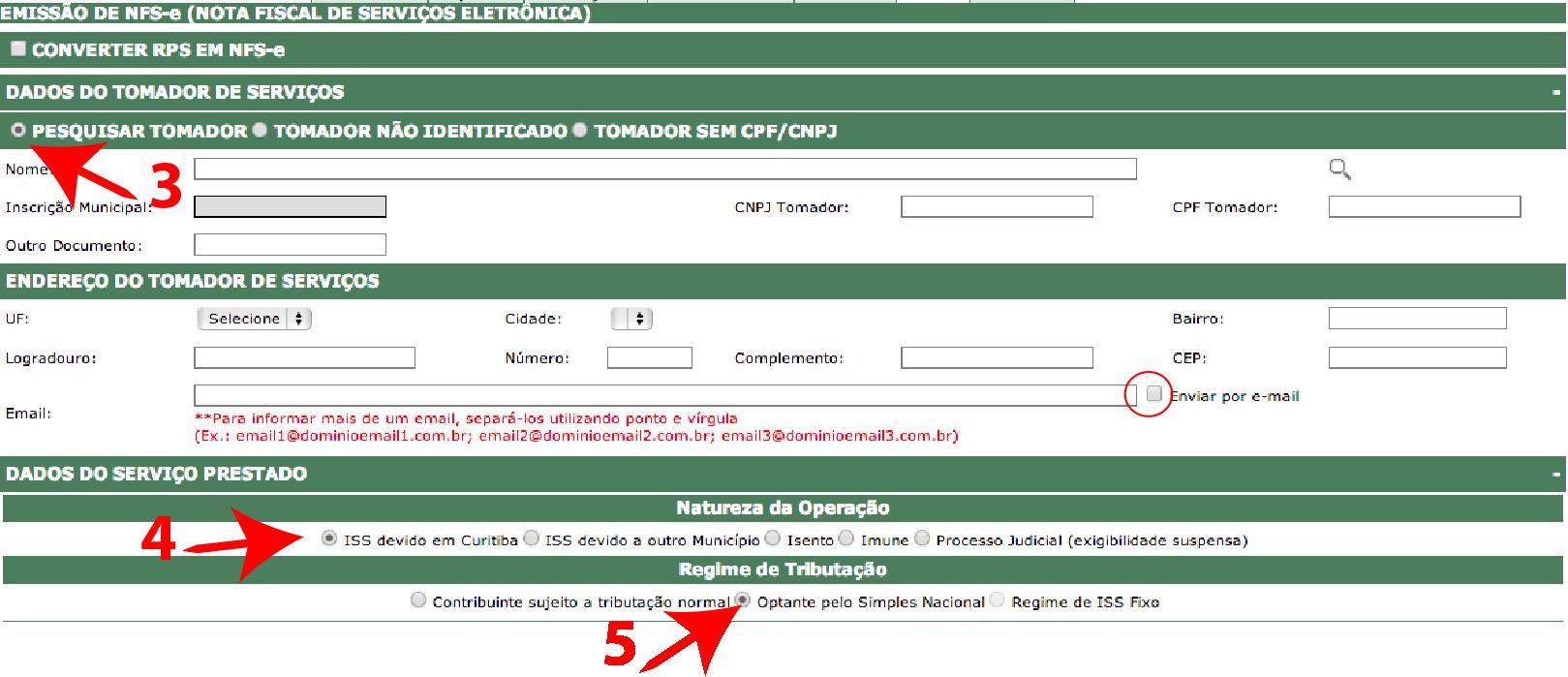 Passos 3, 4 e 5 de Como Emitir Boa Nota Fiscal - ISS Curitiba no simples nacional