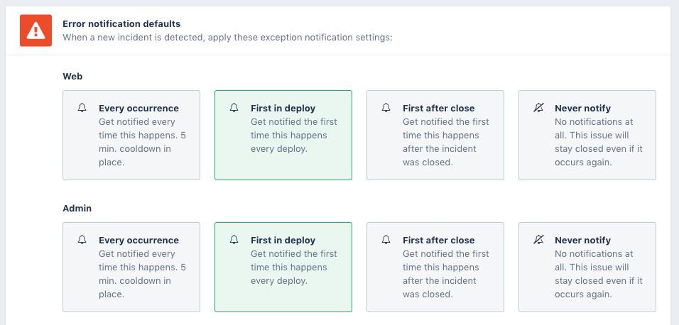 Errror incident notification defaults
