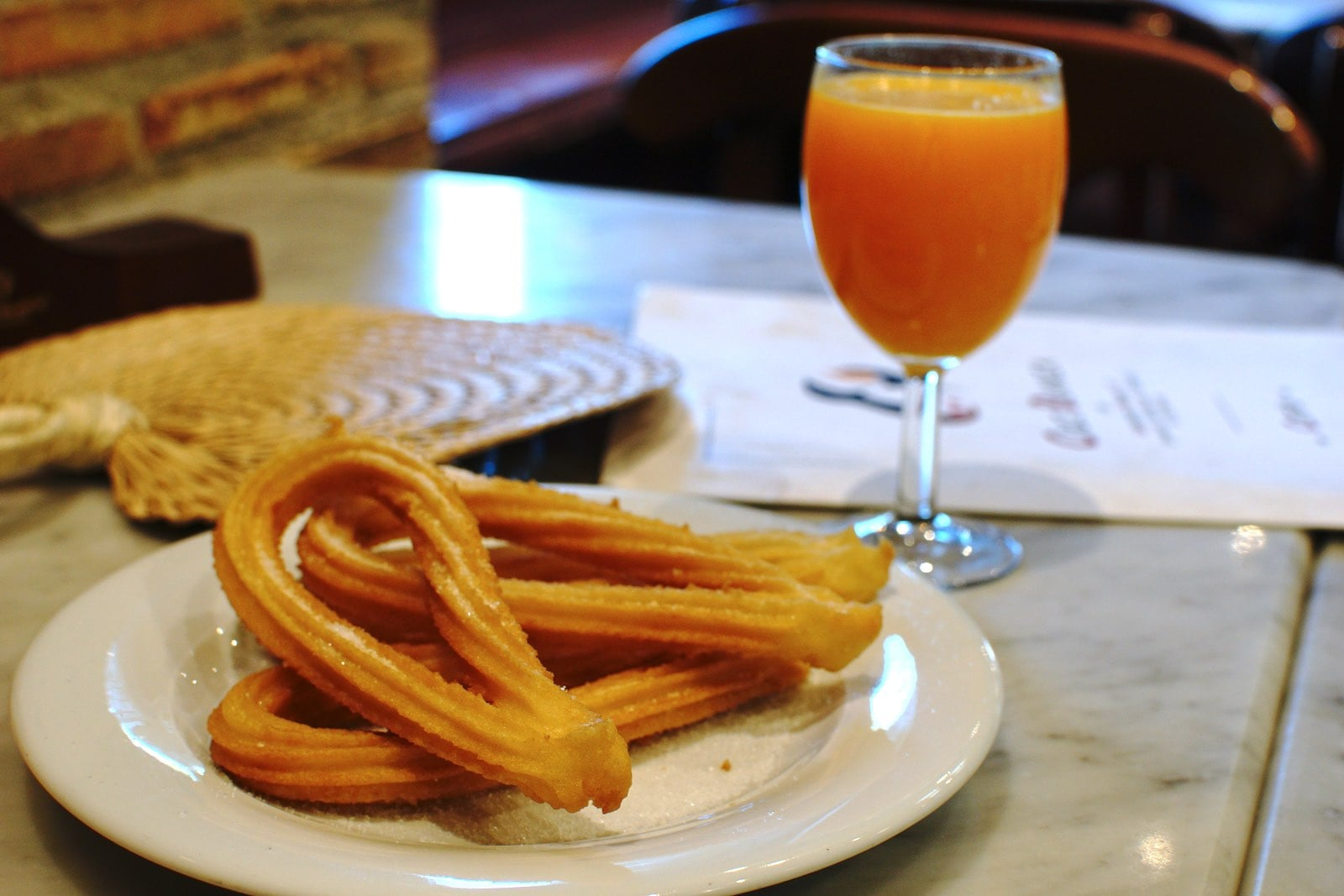 Churros and Freshly-squeezed Orange Juice