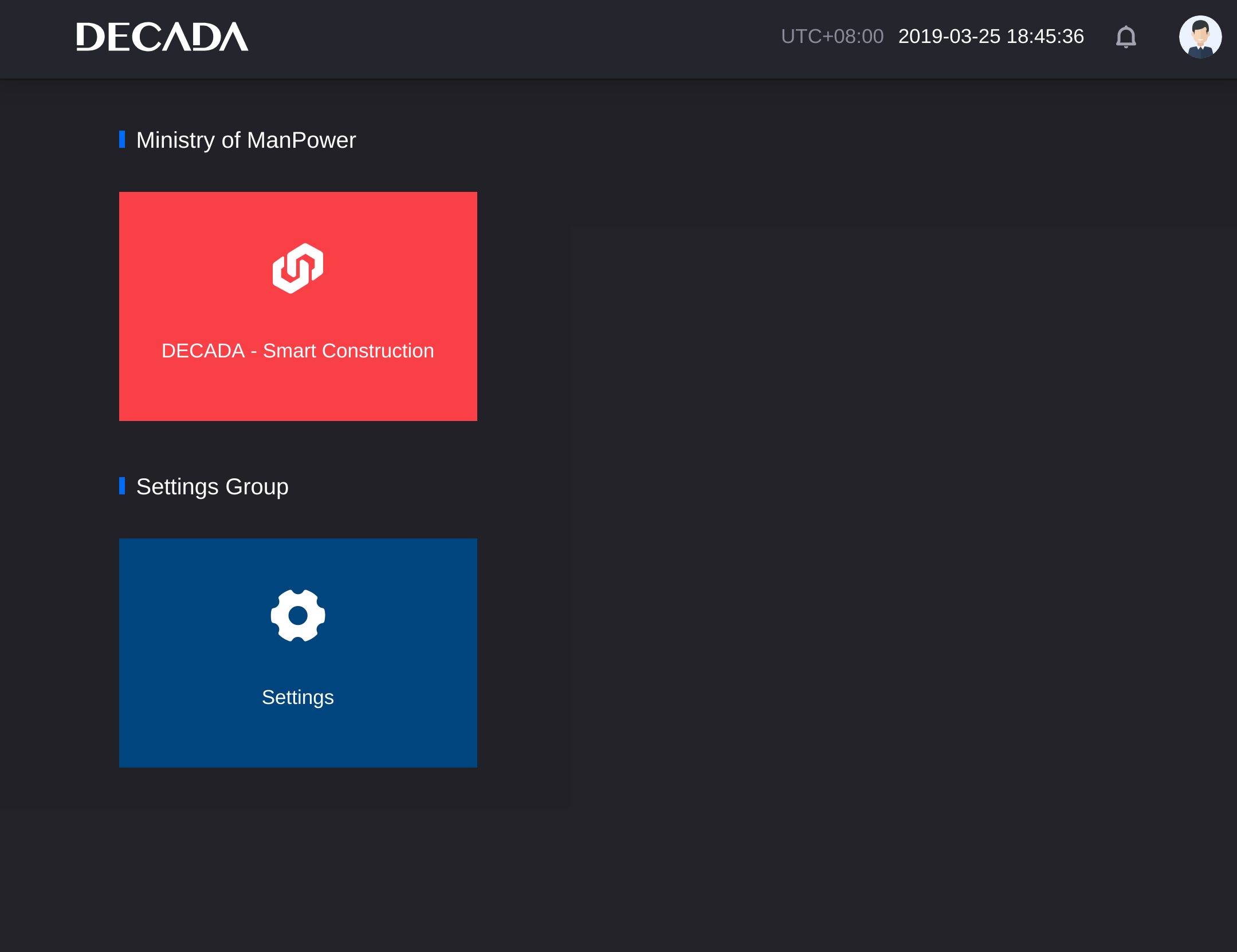DECADA Application Framework screenshot