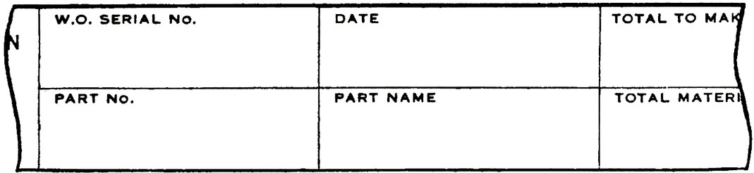 "Table with fields, for example ""Date, Part No., Part Name"". Each title is at the top left-hand corner with space to write the entry below."