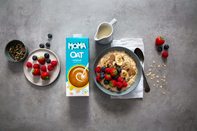 porridge, fruit, nuts with oat milk.