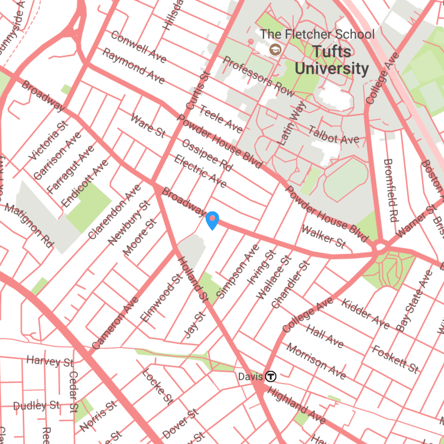 Map of the location of Powderhouse Studios campus