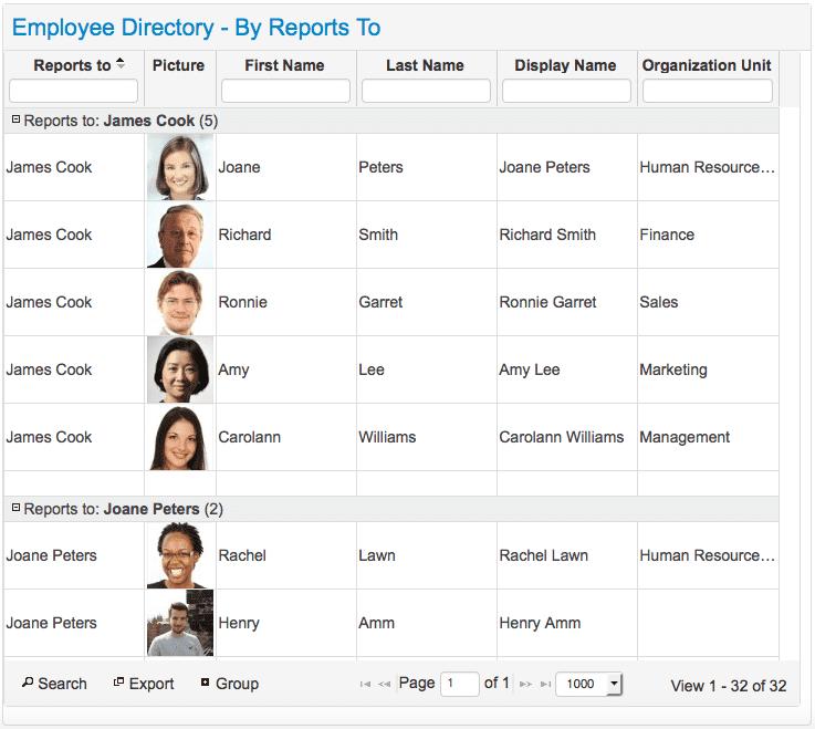 Social Intranet Employee Directory