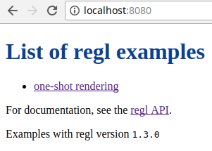 The screen you should see if you visit localhost:8080