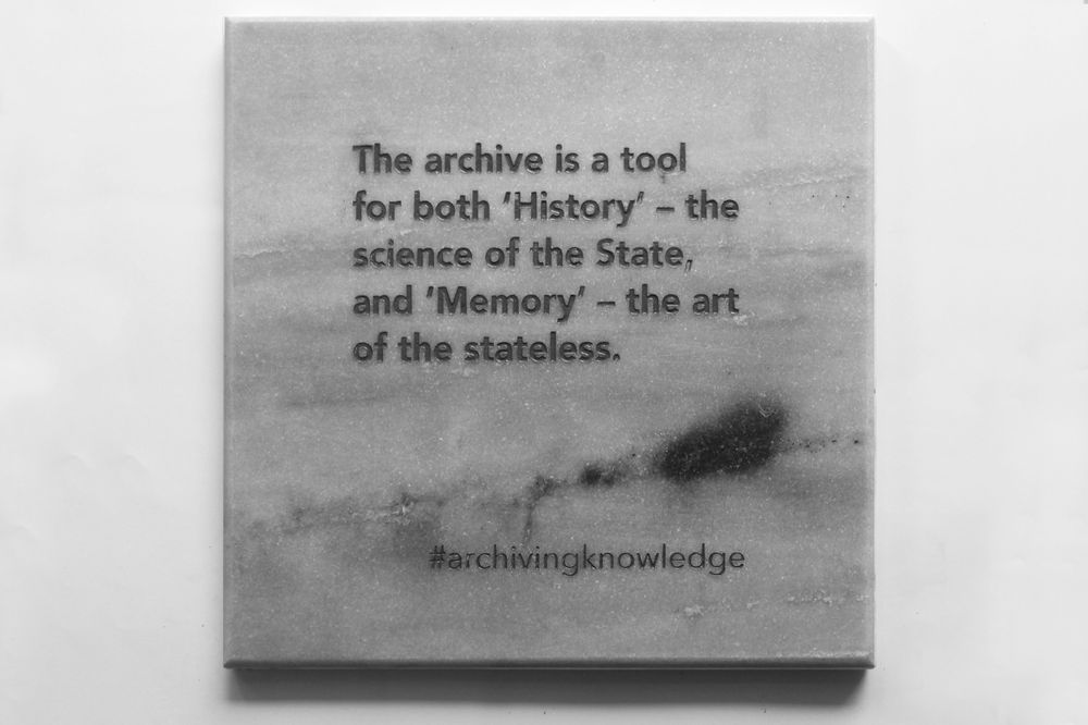 The archive is a tool for both 'History' – the science of the state, and 'Memory' – the art of the stateless, From the series: Archiving Knowledge, hand engraved marble, 2018