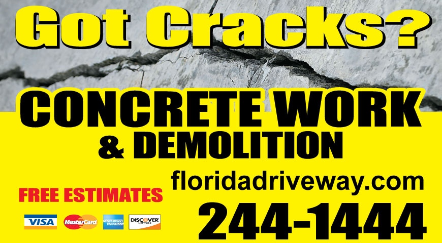 Got Cracks? Call Florida Driveway. 850.244.1444.
