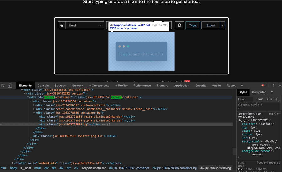 Screenshot showcasing the export-container div highlighted in Chrome and Chrome Dev Tools
