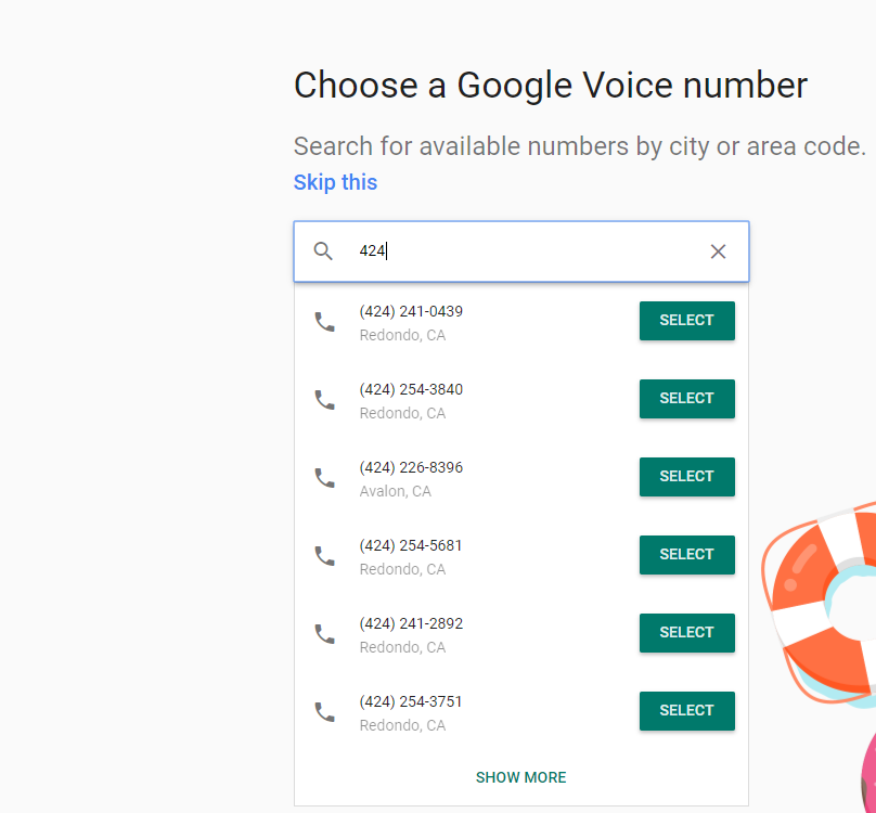 Google Voice 424 zone numbers
