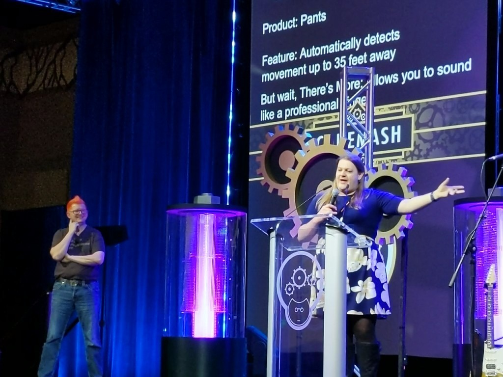 I spoke at CodeMash conference doing the 'infomercial challenge', an improvised one-minute attempt to sell people on a randomly created product.