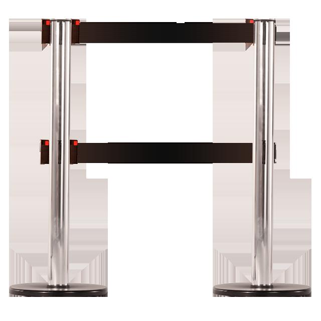 Pedestal em alumínio com acabamento cromado e 2 fitas retráteis.