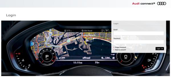 Audi connect login page