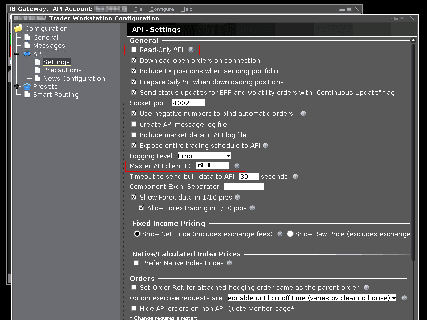 IB Gateway settings