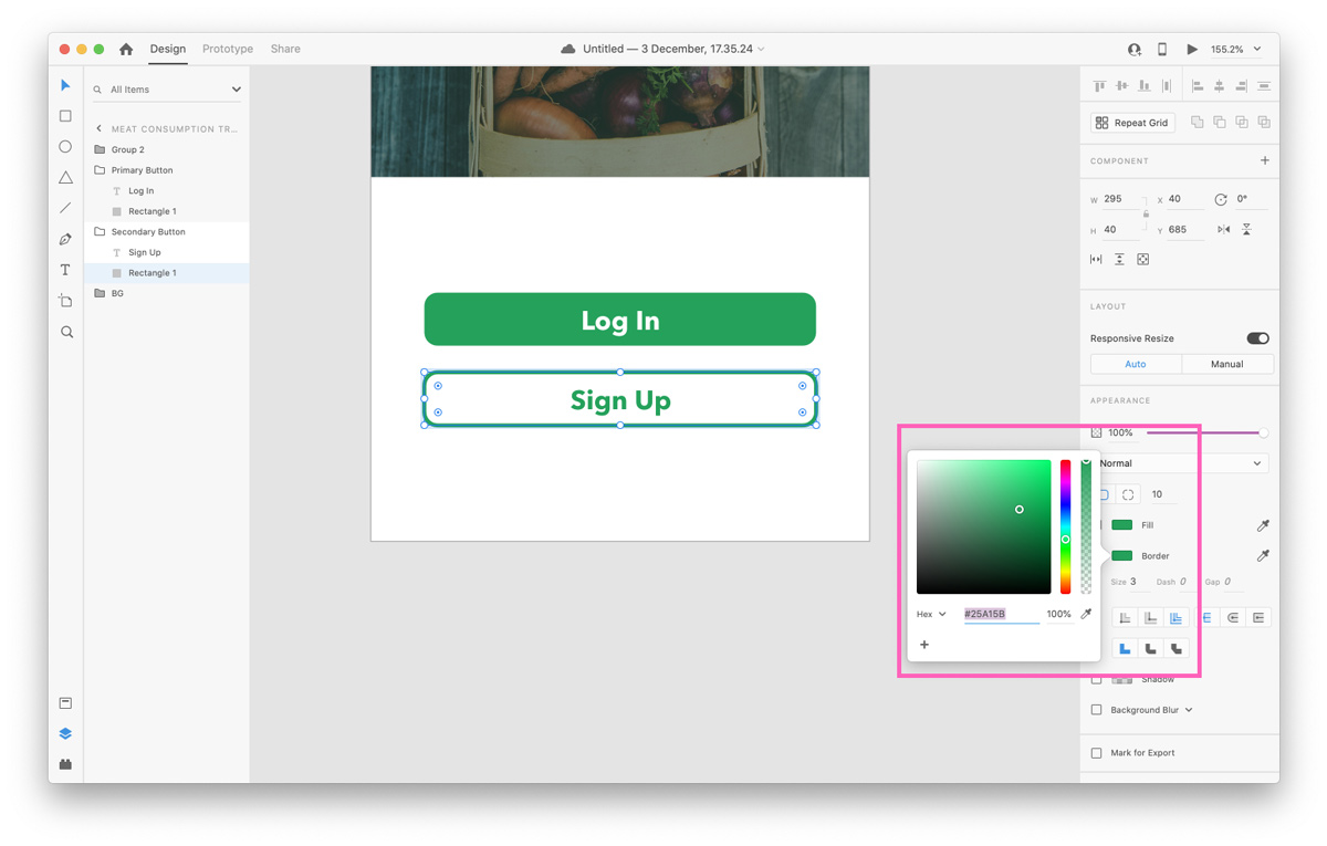 Coloring your border in the Color Picker in Adobe XD