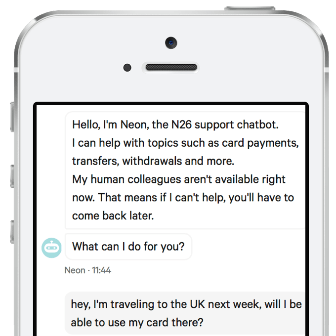 A screenshot of the N26 AI assistant
