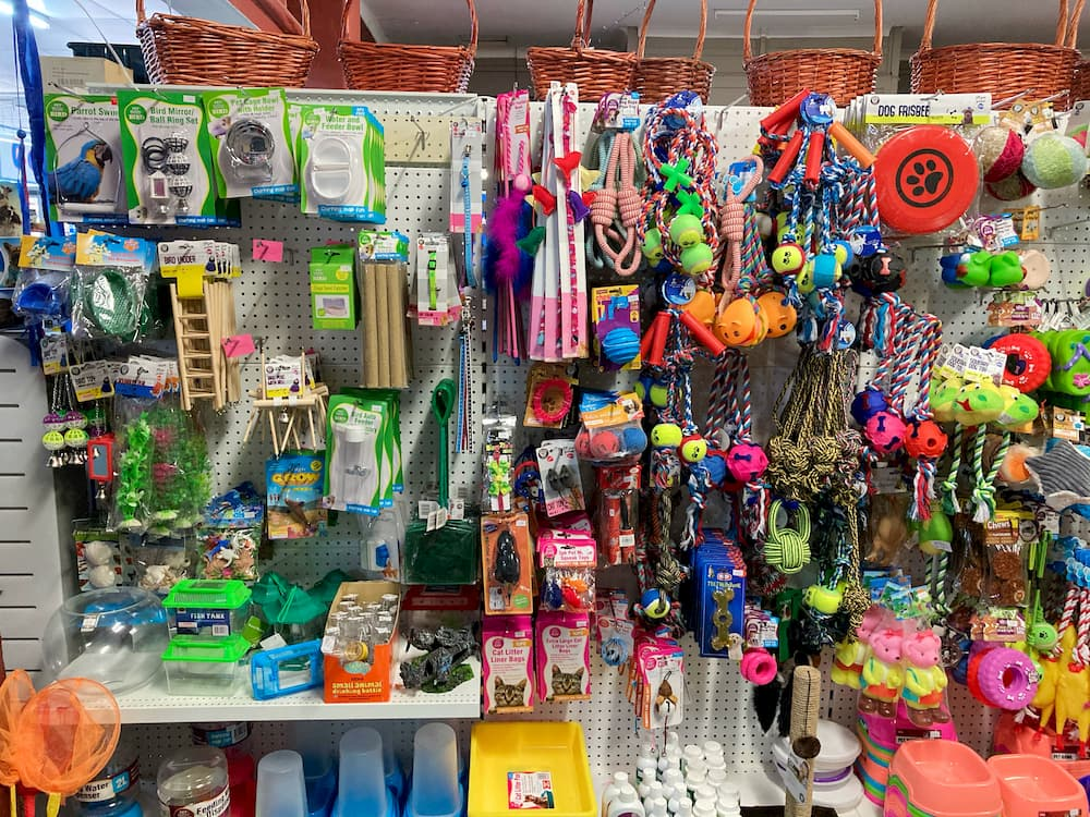 Pet supplies, including dog leads, food bowls, aquarium ornaments, water dispensers, and toys for dogs, cats, and birds.
