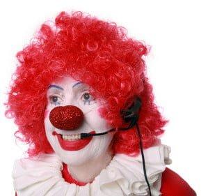 Clown talking on the phone