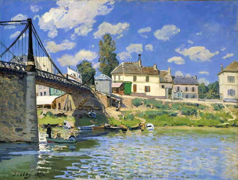 'Bridge at Villeneuve-la-Garenne', painted by Alfred Sisley in 1872