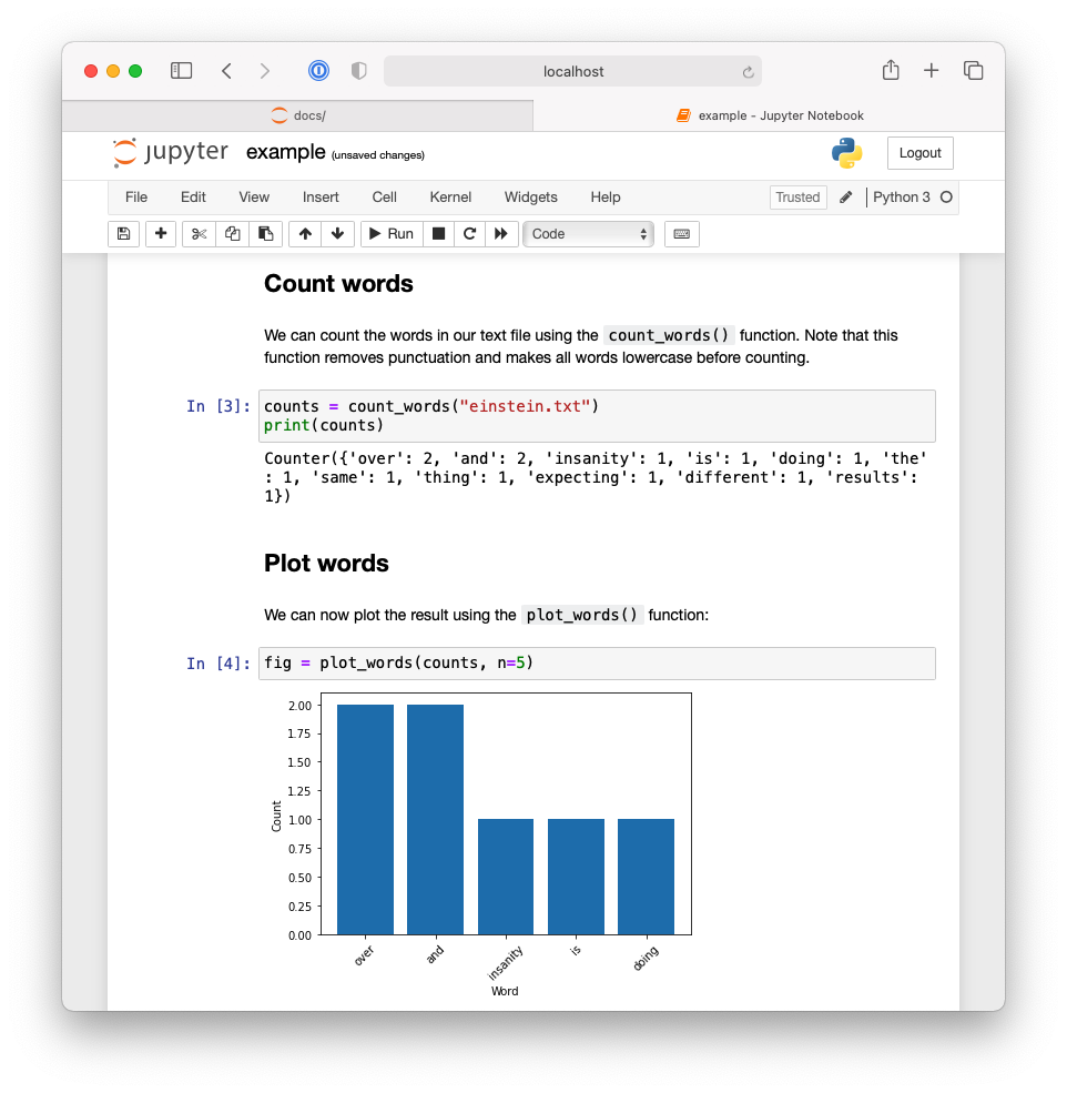 Second half of Jupyter notebook demonstrating an example workflow using the `pycounts` package.