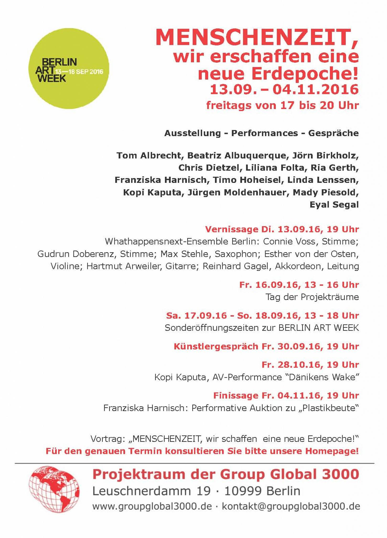 Group Global 3000 Exhibition: Berlin 2016 flyer