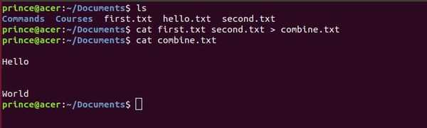 cat combine files command