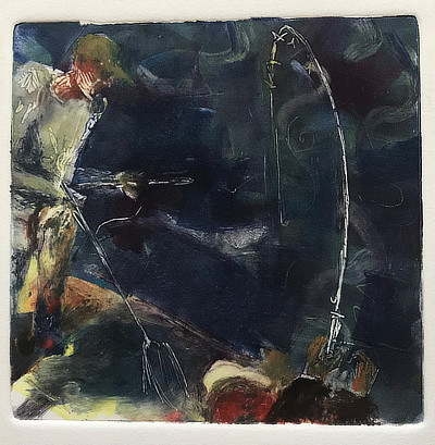 monoprint from point of view of fisherman with another figure standing by with net