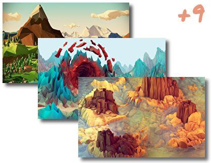 Low Polygon Art theme pack