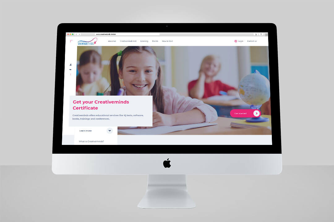 "Project CreativeMinds for our client ""Global Education"", Website Design and React programming"