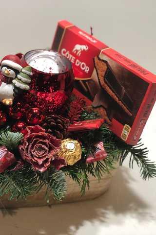 Langwerpig xxl rode houten kerststuk