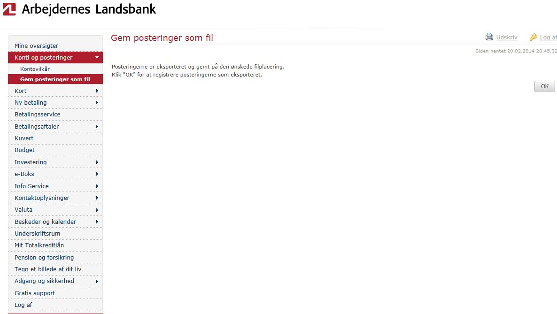 CSV fra Arbejdernes Landsbank