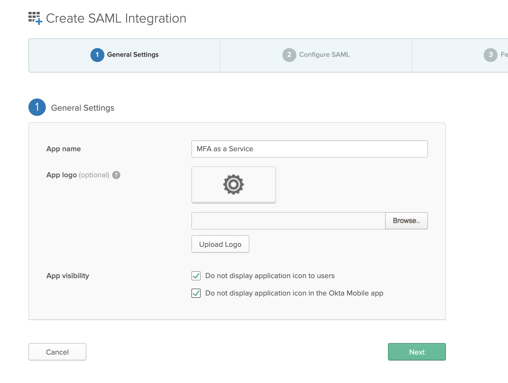 Create SAML Integration Step One