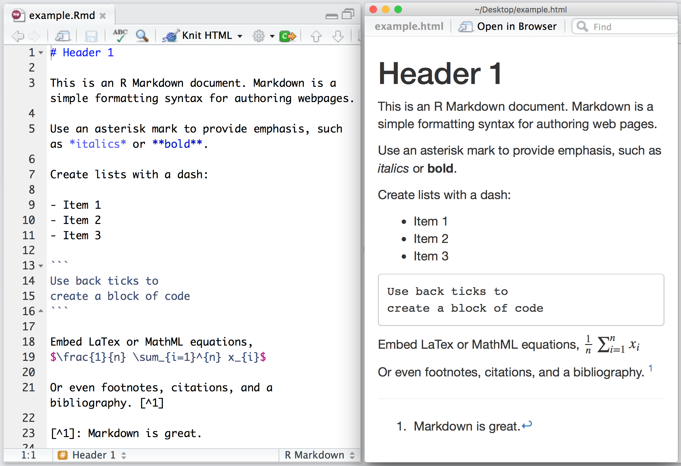 R markdown quick tour for Table markdown